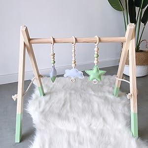 Blau, A HB.YE Babyspielzeug aus Holz Puzzle gym Spieltrapez inkl Anh/änger Babygymnastik aktiv Spielzeug Babyzimmer Kinderzimmer Dekoration