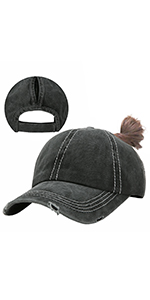 Ponytail Baseball Cap Distressed Washed Cotton Dad Hat Women Unconstructed Trucker Hat