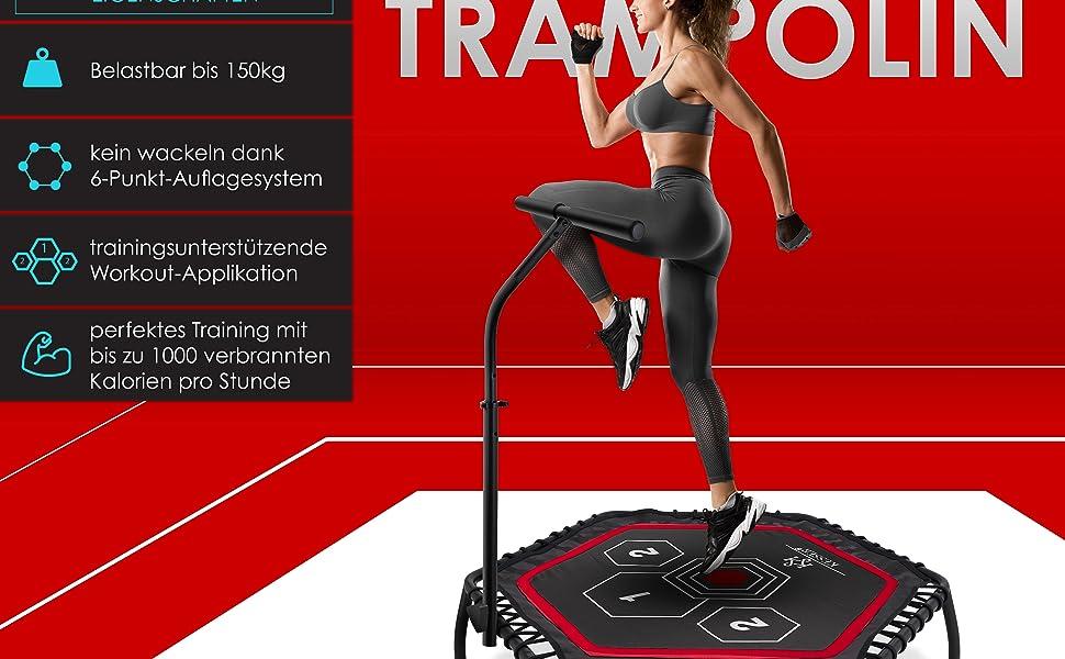 Sport T-Stange Haltegriff h/öhenverstellbarer Aerobic und Jumping 120 cm Sprungfl/äche KESSER/® Fitness-Trampolin FT-900 sehr leise Gummiseilfederung bis 150 kg