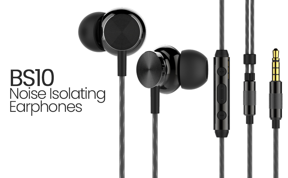 betron bs10 black with microphone earbuds