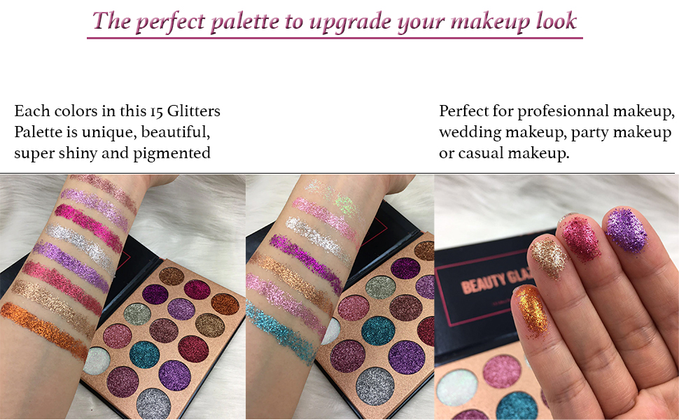 Beauty Glzaed 15 Colors Glitter Metallic Shimmer Eye Shadow