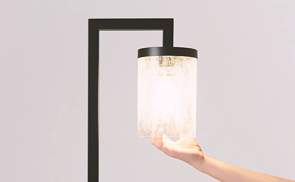 Brightech Henry - Industrial Floor Lamp with Hanging Crackled Glass for Living Room