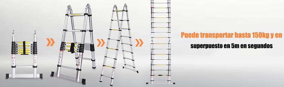 COOCHEER 5m Escalera Telescópica, Escalera plegable aluminio,16 Escalones Antideslizantes, carga máxima: 150 kg: Amazon.es: Bricolaje y herramientas