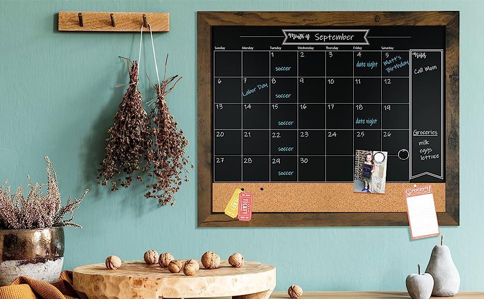 Chalk calendar, chalkboard, calendar, office decor, kitchen decor, dry erase calendar, loddie doddie