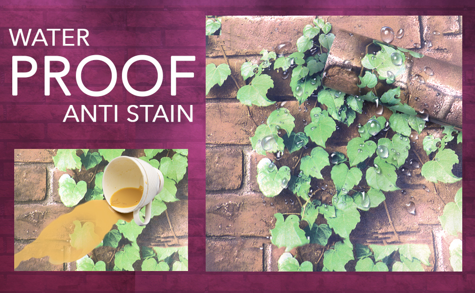 3d faux brown brick leaf green plant wallpapers are anti stain, oil proof, waterproof