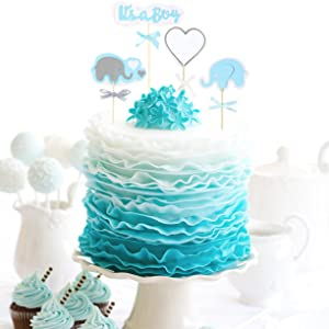 elephant cake topper set  boy ribbon tablecloth cupcake stand indoor outside kid party  royal prince