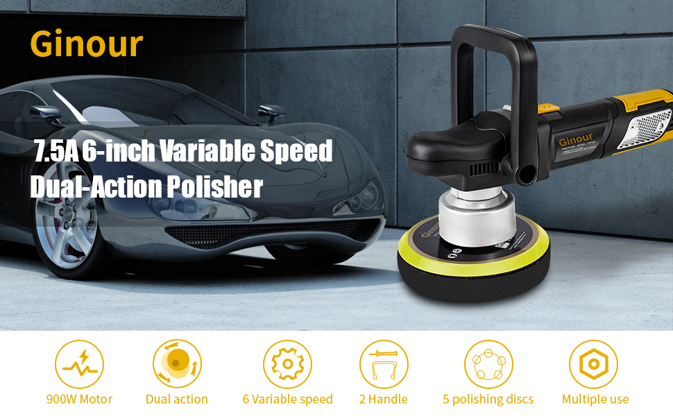 Automotive Polisher with 2 Roofing Towel Car Buffing and Polishing Kit for Polishing Waxing of Cars Escalators Floors Homes Black