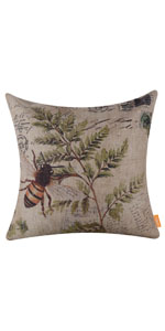 LINKWELL 4545cm Retro Vintage Brown Paris Bee Fern Pillow Cover