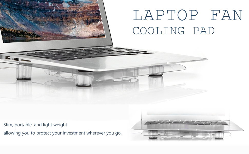 Yinuoday Laptop Fan Cooling Pad Slim Portable USB Powered Laptop Cooling Stand Anti-Skid Quiet Fans with LED Light for Notebook Cooler