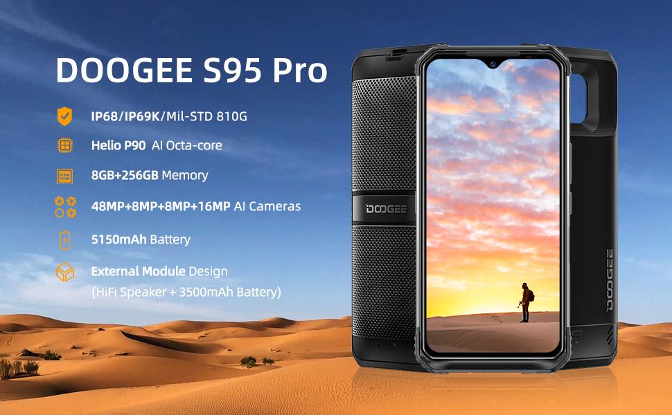 Rugged Unlocked Smartphone DOOGEE S95 pro 8+256