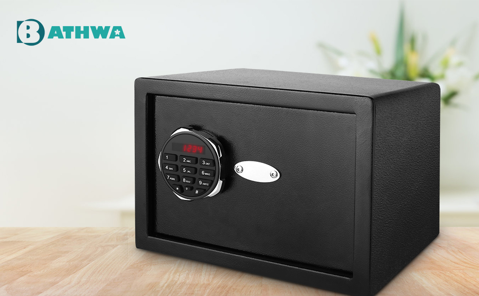 BATHWA safe box  BATHWA Digital Electronic Safe Security Box, Steel Deposit Safe for Home & Office, Cabinet Safe with Keypad for Jewellery Money Valuables, Wall-Anchoring Design, 0.7 Cubic Feet Capacity 0b560413 62c6 4327 9d90 22f00d343dd8
