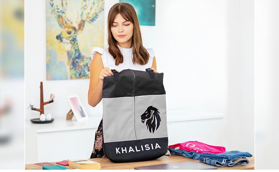 Damen Rucksack Daypack Rolltop Khalisia Kalisia Fahrradtasche Wasserdicht Freizeittasche klein grau