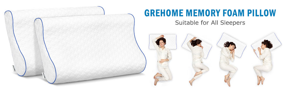 GREHOME Memory Foam Pillow, 29 x 16 x 4