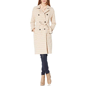 Women's Double Breasted Winter Long Trench Pea Coat Tweed Jacket