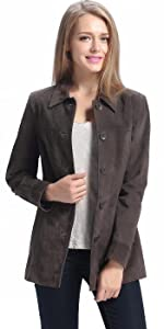 BGSD Women's Anna Suede Leather Car Coat