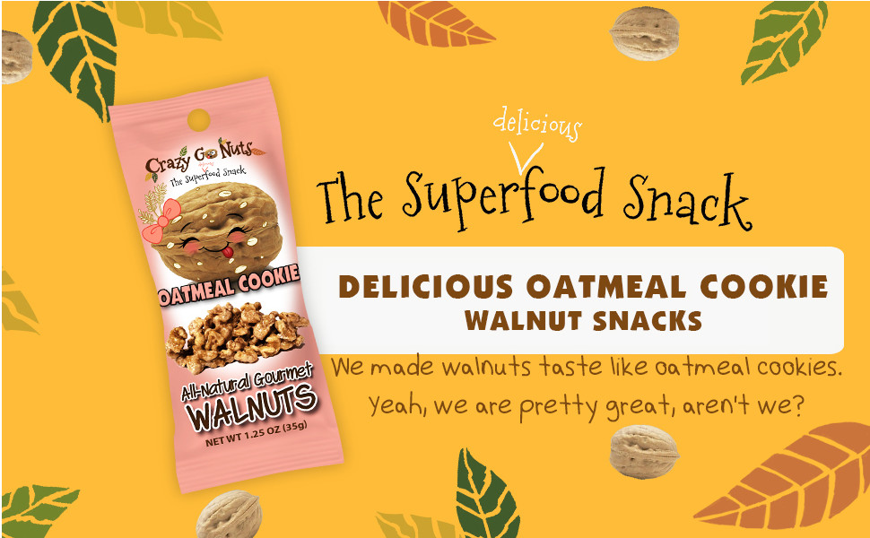 crazy go nuts oatmeal cookie walnut snack superfood organic natural gluten free vegan low carb keto