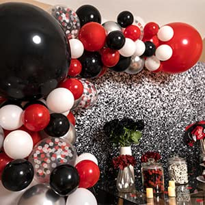 red and black party decorations