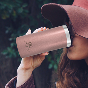 Women Drinking from 16 oz Rose Gold Coffee Tumbler Mug