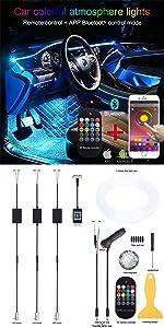TABEN Luz Ambiental App Control Coche Atm/ósfera L/ámpara de luz Suave DIY Reajuste Banda de Fibra /óptica 64 Colores Iluminaci/ón Interior Luz Decorativa 1W DC 12V 2m
