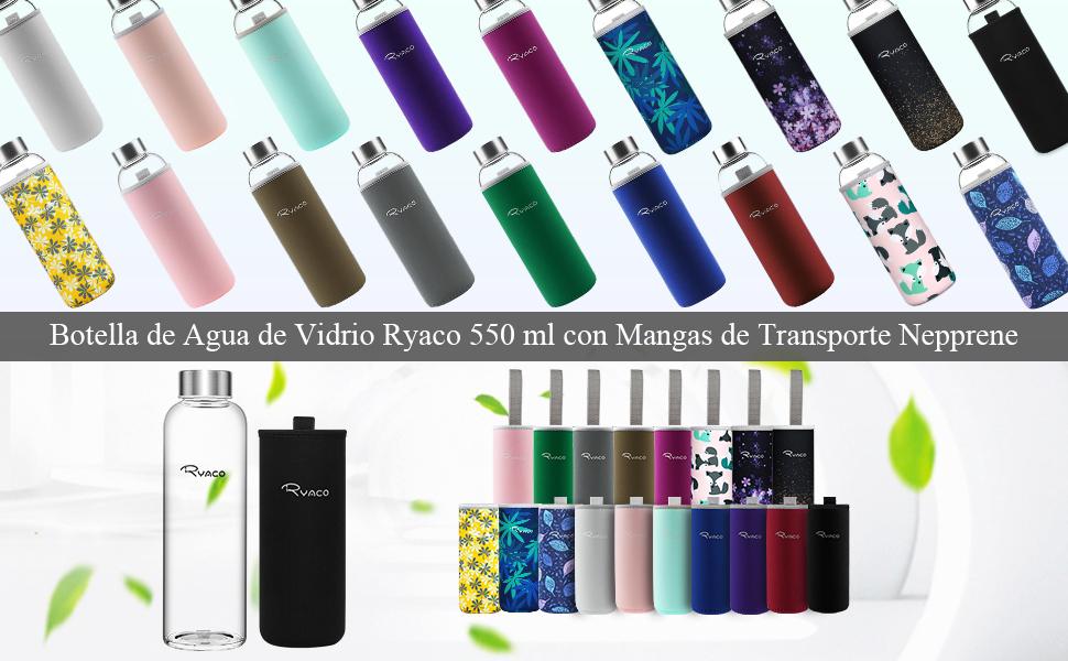 Ryaco Botella de Agua Cristal 550ml, Botella de Agua Reutilizable ...