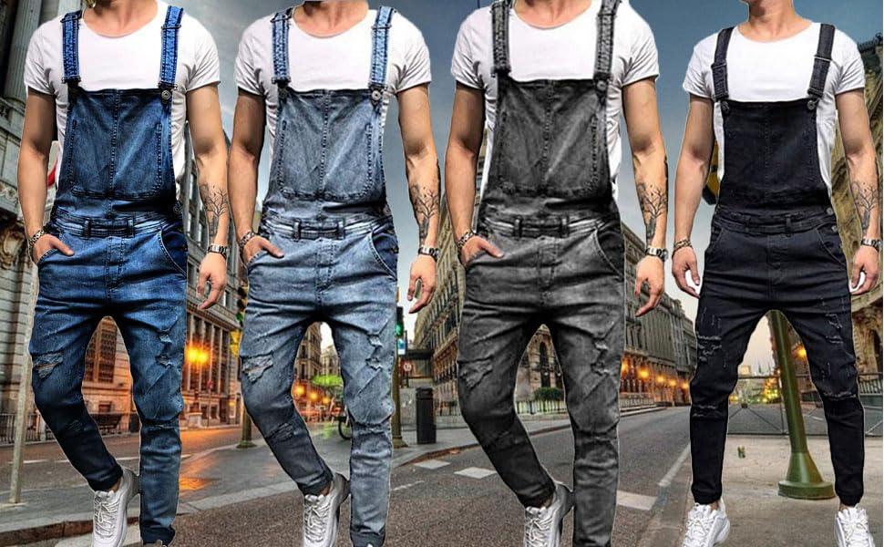 Mens Denim Dungaree Bib Overalls Jumpsuits Moto Biker Jeans Pants Trousers S-3XL