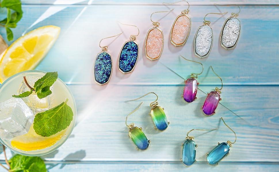 gold dangle earrings drop dangling statement bohemian dangly pink blue white druzy stone acrylic