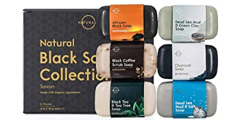 natural black soap collection, charcoal, coffee, tea tree, dead sea salt