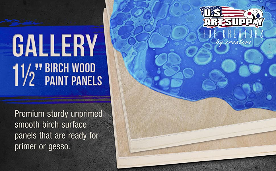 "Wood Panel Gallery 1 1/2"" Birch Wood Paint Panels"