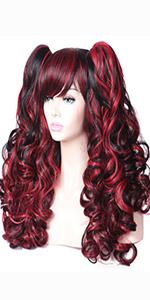 black red wig