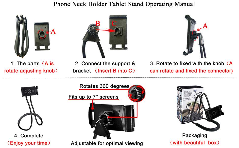 Upgrade Phone Holder for Bed, Neck Holder for Phone Gooseneck Lazy Phone Tablet for Bed Neck Holder