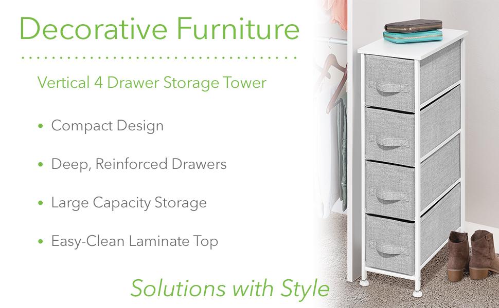 Decorative Furniture Vertical Slim 4 Drawer Storage Chest