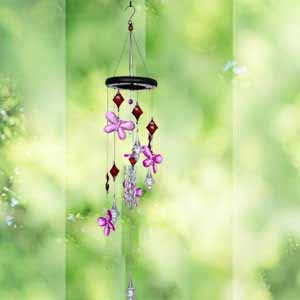 AshmanOnline Wind Chime Pink Flower - Tone Sympathy Wind Chimes with Flower