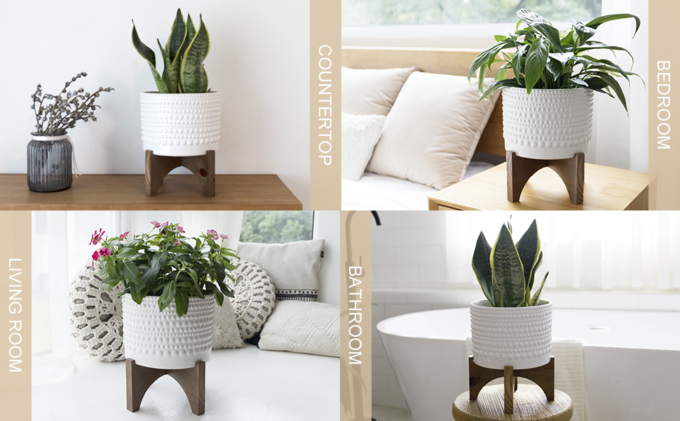 8 Inch Embossed Glazed Vintage Style Cylinder Planter with Wood Stand, Hobnail Patterned, White