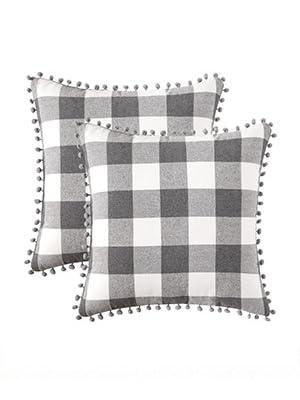 buffalo check pillow classic fall autumn decor flannel grey gray