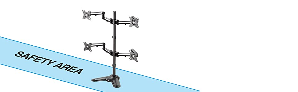 Prevent risks of desk stand topping by keeping the within the Safety Area during monitor adjustments