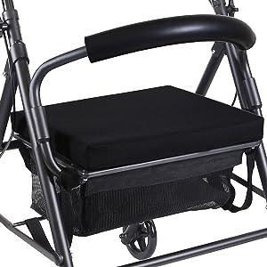 KMINA - Andadores ancianos plegable, Andadores adultos con asiento, Andadores ancianos 4 ruedas, COMFORT Negro Freno Maneta