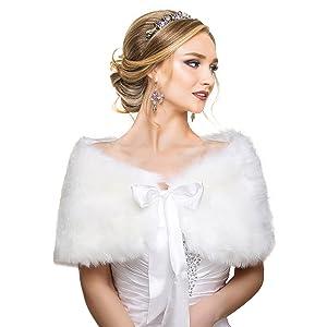 White Faux Fur Wrap Shawl