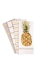 Pineapple orange Gray White Linen Towels Dish