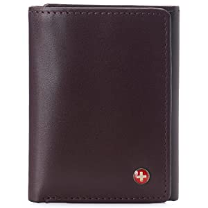 genuine leather mens trifold wallet