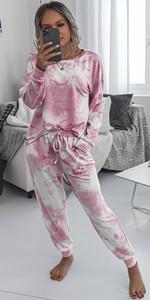 Women's Pajamas Set Tie Dye Printed Long Sleeve Comfy Nightwear