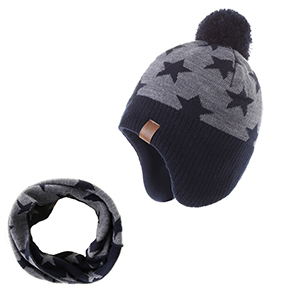 Moon Kitty Girls Knit Hats Winter Fleece Lining Skiing Winter Caps with Warm Ear Flap