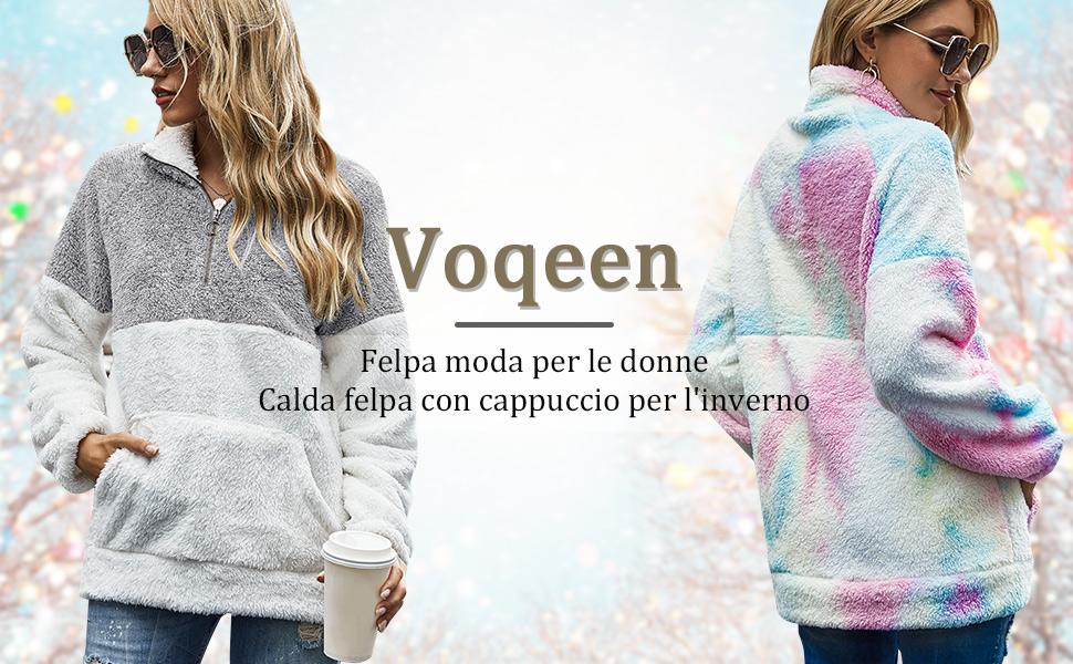 Voqeen Felpa Donna Maglione in Pile Caldo Cappotto Donna Invernale Sweatshirt Oversize