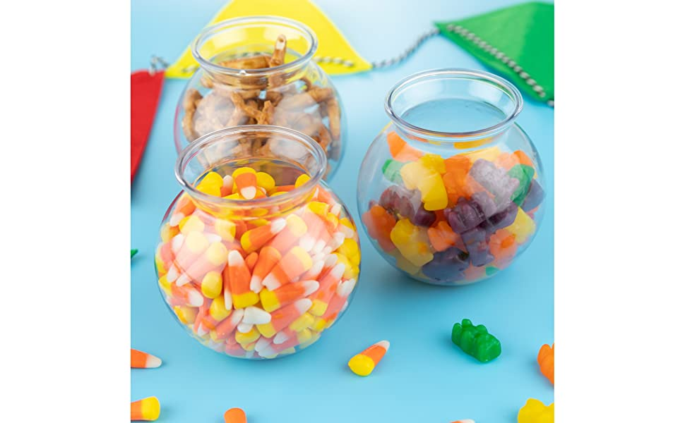 Plastic Ivy Bowls Unbreakable Vases Plastic Fish Bowl 16 oz 12 Count Candy Great for Kids Carnival Games 4 Inch Fishbowl Table Centerpieces and Decorations Party Favors