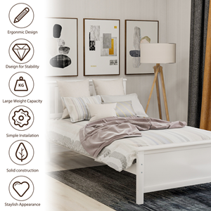 twin bed frame no box spring needed  Harper&Bright Designs Wood Platform Bed with Headboard, Footboard, Wood Slat Support, No Box Spring Needed(Twin, White) 0bbb9ce5 d207 4a5a a876 04d3acc25700