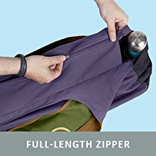 Extra large canvas yoga mat bag with straps to hold yoga mat and full length zipper