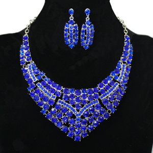Blue statement necklace earrings set
