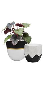black and white geometric flower pots