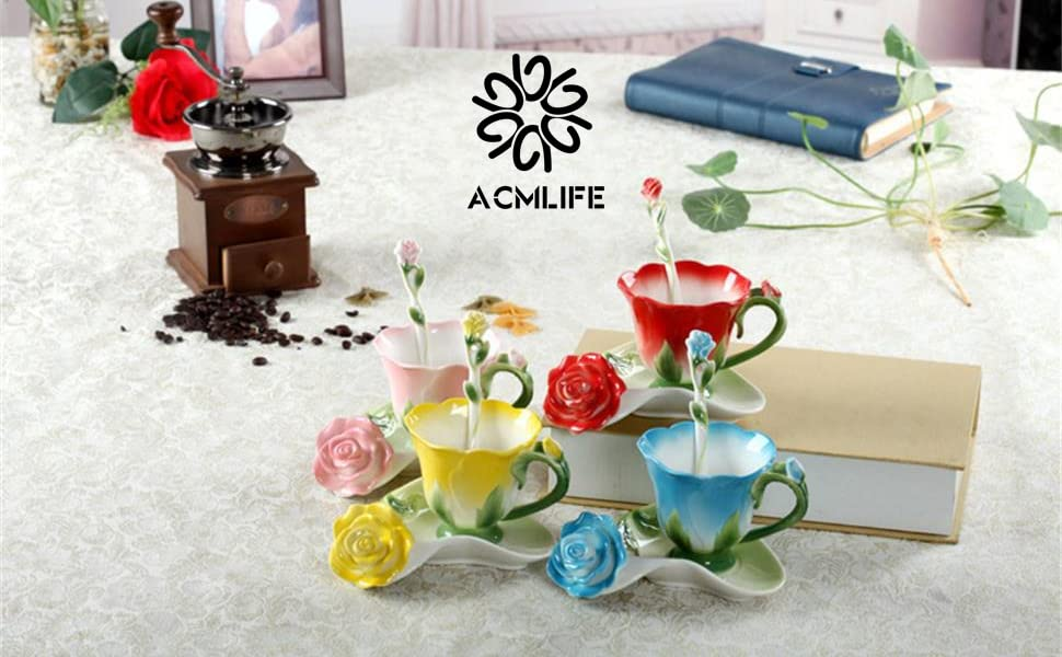 ACMLIFE Hand Crafted Rose Flower Cups China Porcelain Coffee Tea Cups