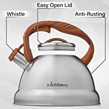 easy open lid whistle anti-rust tea kettle stovetop