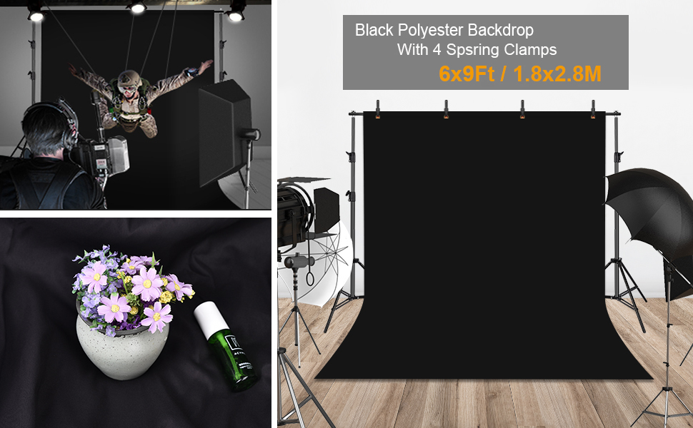 UTEBIT 6X9FT black polyester backdrop